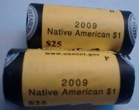 2009 P & D SACAGAWEA NATIVE AMERICAN DOLLAR COIN TWO BU MINT WRAPPED ROLLS OF 25