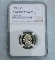 1968 S NGC PROOF 68 ULTRA CAMEO JEFFERSON NICKEL FROSTY GEM PF 68 U CAM COIN