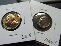 1968 S &1969 S NICKEL  DIME PAIR   BEAUTIFUL BRONZE TONE  COINS LOT  C41