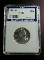 1961 D 25C WASHINGTON SILVER QUARTER US COIN UNCIRCULATED GRADED