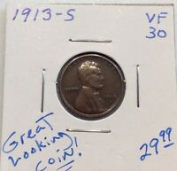 1913-S LINCOLN CENT IN VF CONDITION