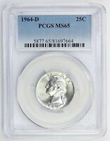 1964 D SILVER WASHINGTON QUARTER MS 65 PCGS 7664