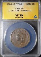 1830 ANACS VF30LARGE CENT CORONET HEAD OLD COIN PENNY ANTIQUE COPPER SHIPS FREE