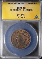 1821 ANACS VF20LARGE CENT CORONET HEAD OLD COIN PENNY ANTIQUE COPPER SHIPS FREE