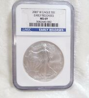 2007 W BURNISHED AMERICAN 1 OZ SILVER EAGLE $1 NGC MS 69 EARLY RELEASES