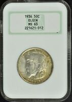 1936 ELGIN SILVER COMMEMORATIVE 50C NGC MINT STATE 63