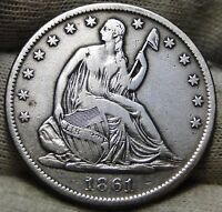 1861S SEATED LIBERTY HALF DOLLAR 50 CENTS   KEY DATE ONLY 939,500 MINTED 3855