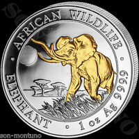2016 SOMALIA ELEPHANT GILDED IN 24K GOLD 1 OZ .9999 SILVER AFRICAN WILDLIFE COIN