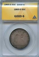 1865 S 50C ANACS G 6 GOOD CAPPED BUST HALF DOLLAR