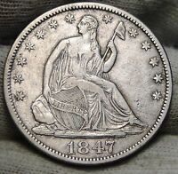 1847 SEATED LIBERTY HALF DOLLAR 50 CENTS. NICE COIN SEMI KEY DATE 5538