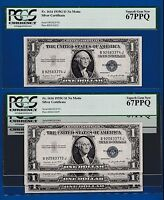 FR.1616  1935 G $1  SILVER CERTIFICATE PCGS 67 SN B 92583374 J BUY ONE NOTE OF 4