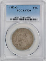 1852 O 50C LIBERTY SEATED HALF DOLLAR PCGS VF 20 FINE