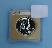 1958 PROOF FRANKLIN SILVER HALF DOLLAR SHINY PROOF COIN IN PLASTIC HOLDER