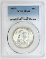 1951 S FRANKLIN SILVER HALF DOLLAR MS 64 PCGS 4022
