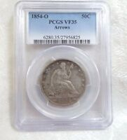1854 O LIBERTY SEATED HALF DOLLAR WITH ARROWS AT DATE PCGS VF 35 SILVER 50C