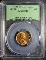 1957 D PCGS MS67 RD LINCOLN CENT  COPPER WHEAT PENNY SUPERB GEM SHIPS FREE