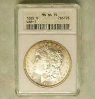 1885 ANACS MINT STATE 64 PL VAM-1 MORGAN SILVER $1, MINT STATE 64 PROOF LIKE COIN, BLAZING LUSTER
