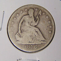 1856 SEATED LIBERTY HALF DOLLAR GOOD PHILADELPHIA MINT COIN 10716