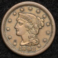 1848 LARGE CENT BRAIDED HAIR PENNY   NICE COIN  5350