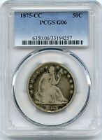 1875 CC SEATED HALF DOLLAR PCGS GOOD 6
