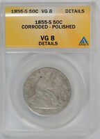1855 S 50C LIBERTY SEATED HALF DOLLAR ANACS VG 8 GOOD DETAILS