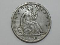 1870 S SEATED LIBERTY HALF DOLLAR   90 SILVER UNITED STATES COIN
