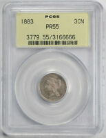 1883 3CN THREE CENT NICKEL PCGS PR 55 PROOF OGH ABOUT UNCIRCULATED