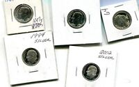 1961 1962 1964 1994 2002 ROOSEVELT SILVER PROOF DIME LOT OF 5 1647J