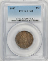 1887 LIBERTY SEATED QUARTER PCGS XF 40 EXTRA FINE KEY DATE LOW MINTAGE