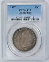 1807 50C DRAPED BUST HALF DOLLAR PCGS F 12 FINE LOOKS VF TYPE COIN