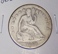 1860 S SEATED LIBERTY HALF DOLLAR VG SAN FRANCISCO MINT COIN 10816