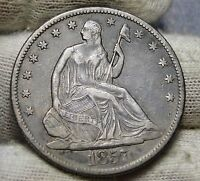 1857 O SEATED LIBERTY HALF DOLLAR 50 CENTS. KEY DATE 818,000 MINTED 5715