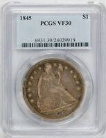 1845 $1 LIBERTY SEATED DOLLAR PCGS VF 30 FINE TO EXTRA FINE TONED