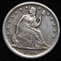 1866S SEATED LIBERTY HALF DOLLAR 50 CENTS. KEY DATE ONLY 994,000 MINTED 5390