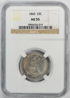 1860 NO MOTTO SEATED LIBERTY QUARTER 25C NGC AU 55 ABOUT UNCIRCULATED