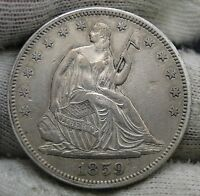 1859 SEATED LIBERTY HALF DOLLAR 50 CENTS   KEY DATE ONLY 747,200 MINTED. 1549