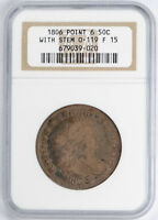 1806 DRAPED BUST HALF DOLLAR O-119 50C NGC F 15 FINE TO  FINE
