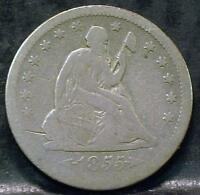 1855 O LIBERTY SEATED QUARTER  IDPP458