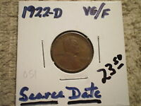 1922 D LINCOLN WHEAT CENT/ NEW LOW PRICE/  DATE