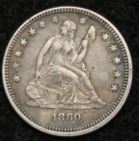 1860 SEATED LIBERTY QUARTER 25 CENTS    KEY DATE 804,400 MINTED. 5343