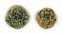 2 COPPER SPANISH COLONIAL PIRATE COB TREASURE COINS GOOD DETAIL 1600'S 1700'S