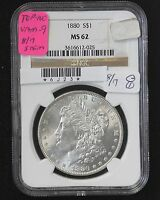 1880 MORGAN DOLLAR NGC MS 62 VAM 9 8/7 TOP 100