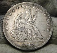1842 O SEATED LIBERTY HALF DOLLAR 50 CENTS. KEY DATE ONLY 957,000 NICE 5591