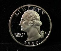 1992 PROOF WASHINGTON QUARTER GEM DEEP CAMEO DCAM