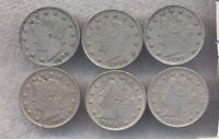 LOT OF SIX DIFFERENT VF-EXTRA FINE  V NICKELS 1883 NC, 1903, 1905, 1906, 1907 & 1910.