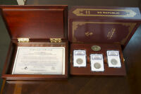 1861 SEATED LIBERTY 50C SS REPUBLIC  3 MINT SET S,O & P DELUXE DISPLAY NGC