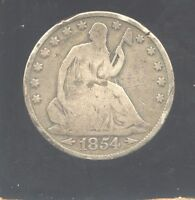 1854O  U.S. SILVER SEATED LIBERTY HALF DOLLAR.  VG SLIGHTLY BENT DOMED. PC4