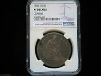 1860 O $1 LIBERTY SEATED DOLLAR NGC XF DETAILS GRAFFITI SHARP TYPE COIN