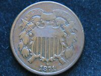 1871 2 CENT PIECE BETTER DATE HIGH GRADE CHOCOLATE BROWN  COIN TWO CENT