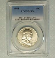 1963 PCGS MS64 FRANKLIN SILVER HALF DOLLAR BLAZING MINT LUSTER MS 64 COIN